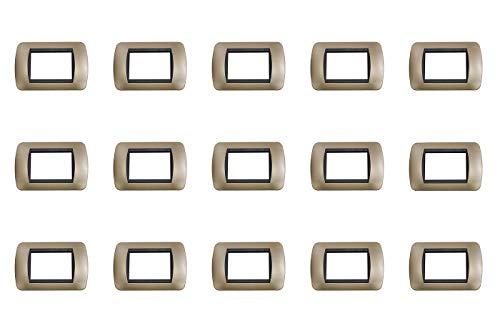 Placchetta placca bronzo compatibile living 4 posti copri interruttore 48004-12 - Tipo 15 PZ