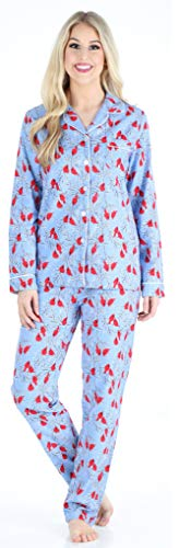 PajamaMania Flanell Pyjama für Damen, Schlafanzug, Kardinäle (PMF1002-2032-UK-XS)