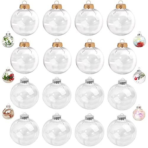 Bolas de Navidad de Plástico Transparente 16pcs Bola Rellenable de Plástico Bola de Adornos Navideños Bolas Transparentes Rellenables Navidad Bolas de árbol de Navidad DIY Bolas de Navidad Decoración