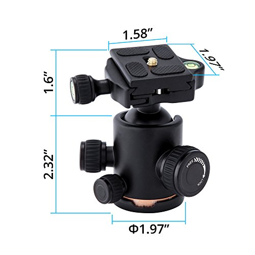 TRIPLE TREE tripod Ball Head,360 Degrees Rotation for Canon Sony Nikon DSLR Cameras, Tripod and Monopod, Maximum Load 17.6 Lbs, Two 1/4