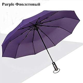 YSBH Wind Resistant Three Folding Automatic Umbrella Rain Women Auto Luxury Big Windproof Umbrellas Men Frame Windproof 10K Parasol (Color : Purple)