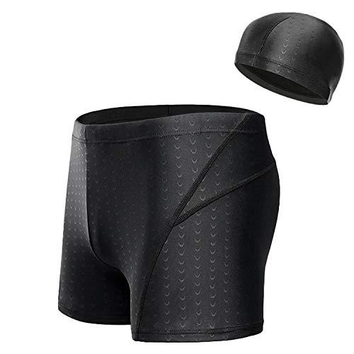 QuickDry Swim Brief for Men, Shark Grain Athletic SwimTrunks Square Leg Swimsuit with Swim Cap Gift (Black, S)