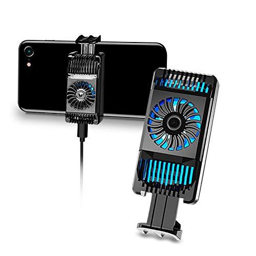 Soporte de disipador de calor para teléfono móvil, con clip para refrigeración portátil, mini ventilador de refrigeración para uso caliente, carga USB, con interruptor de luz LED