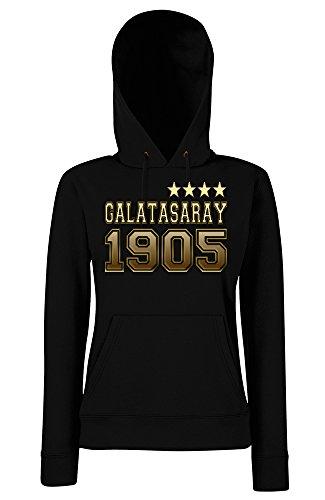TRVPPY Damen Kapuzenpullover Hoodie Sweater Galatasaray 4 Yildiz Sterne, Gold Schwarz, M