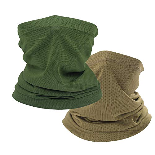 Coyote Brown Neck Gaiter, tan face mask bandanas men cooling summer, half face covering women (1pc Coyote Brown & 1pc army green)