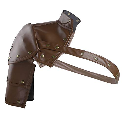 CHICTRY Gothic Steampunk Shoulder Armor with Adjustable Arm Strap Faux Leather Body Chest Harness Cosplay Costume Accessory Brown One Size