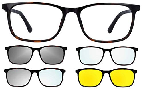 "Ultem Thema U-281 Color 007 Tortuga – Montura para gafas de vista y sol + 4 clip-on línea Original ""99 John St NYC"" para hombre"