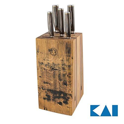 von handgefertigter Messerblock aus Alten Fassdauben | + 5 Kai Shun Premier Tim Mälzer Messer Japanische Profimesser (Variante C (+ 5 Messer) | VK: 1219,- €