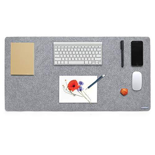 Lucky Sign - Schreibtischunterlage Filz mit Anti Rutsch Beschichtung, 40x80cm Grau