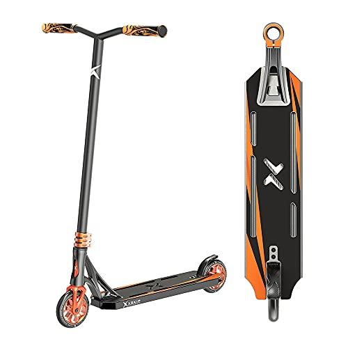 XSKIP Pro Scooter Trick Scooters para adolescentes, niños y adultos, con ruedas de núcleo de aluminio de 120 mm, altura total 36 pulgadas, color naranja