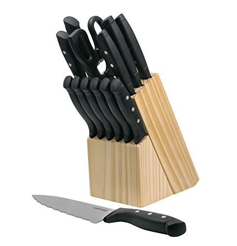 Farberware 22-Piece Triple Rivet Rust-Resistant Wave Edge High-Carbon Stainless Steel Knife Block Set, Beechwood/Black