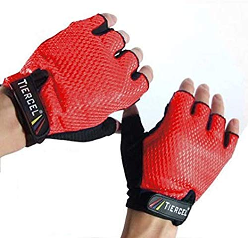 RED - Weightlifting Gloves Womens Size Medium. Sport Gloves for Weight Lifters. Gym Fitness Gloves Sizes. Exercise Gloves for Women Made with Palm Weight Grip Padding. Fingerless Gloves for Women