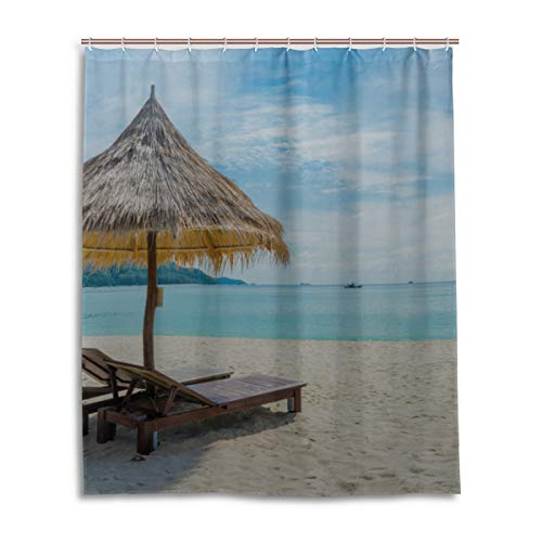 "Limiejo Favorite Vacation Beach Tent Best Bathroom Curtain Durable Waterproof with 12 Hooks Bathroom Curtains Window Valance for Bathtub Showers 60""x72"" Machine Washable"