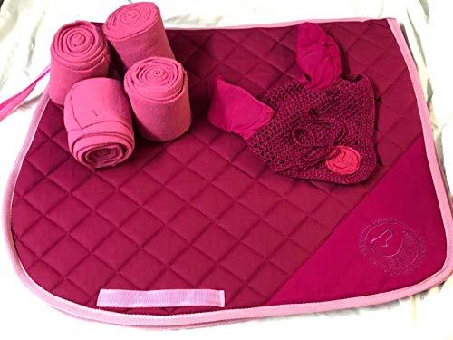 Equipride Tapis de Selle avec Assorti Fly Veil et Bandages Rose