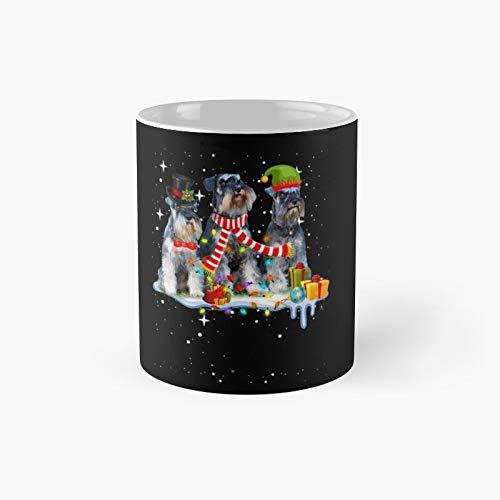Taza clsica con diseo de Schnauzer de Christmas-Dog | Best Gift Funny Coffee Mugs 350 ml