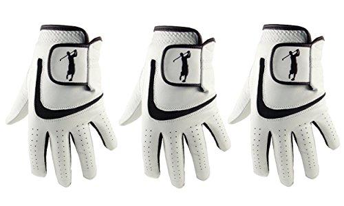 3 Herren-Golfhandschuhe aus Cabretta-Leder und schwarzem Lycra, schwarz