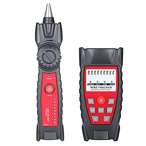 skrskr Wire Tracker Tragbarer multifunktionaler RJ11 RJ45 Kabeltester Telefon- und Netzwerkleitungsfinder mit Kopfhörerbuchse LED-Licht für die Netzwerkwartung