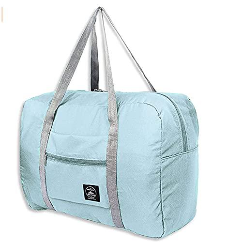 Bolsa de viaje plegable de gran capacidad con maleta fija en el carrito Equipaje impermeable Bolsa de viaje Tote Equipaje de mano Sport Duffle Weekender durante la noche para mujeres y niñasss (A)