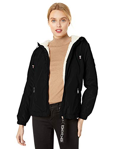 bebe Women's Fashion Outerwear Jacket, Classic Sherpa Lined Black, L