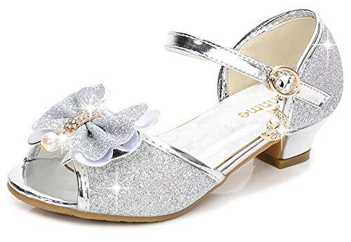 Osinnme Girls High Heel Sandals Size 1 M Sliver Glitter Big Kid Girls Princess Rhinestone Wedding Flower Girl Sequin Sandals for Performance Dress Shoes (Sliver 1)