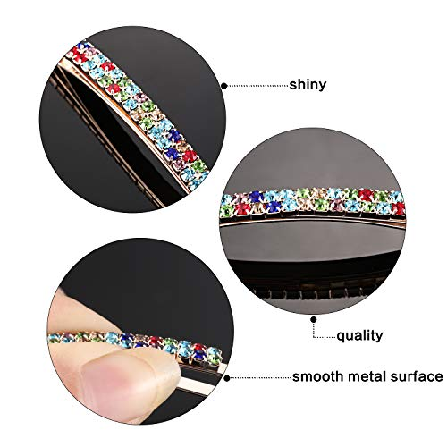 Rhinestone Crystal Bobby Pins Double Row Rhinestone Hair Barrette Clip Metal Hair Pins for Women Girls (Multi Color)