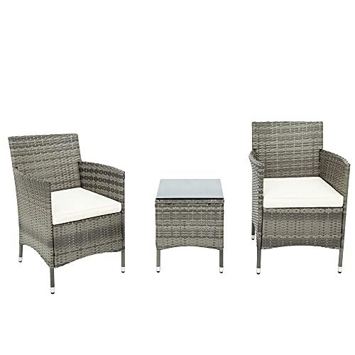 Moimhear Set di mobili da giardino Iowa Balcony, set di mobili da balcone in polyrattan, set da 2 persone, 3 pezzi, con cuscino per seduta, plastica, effetto rattan (grigio)