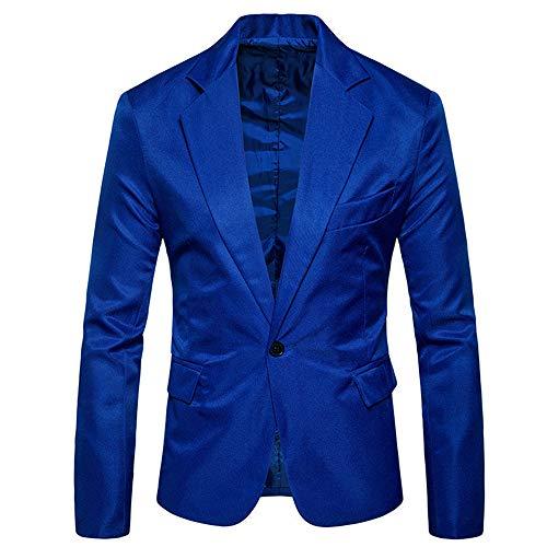 Blazer da uomo monopetto slim fit giacca classica tinta unita 1 bottone tops giacca sportiva giacce tempo libero bavero collo business casual laurea festa di matrimonio cappotto elegante D-Blue M