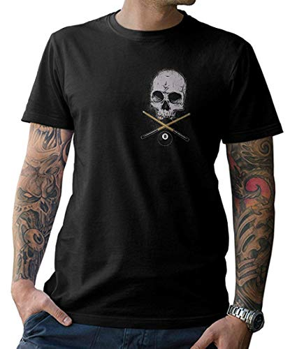 NG articlezz – T-Shirt – Billard Skull Front- und Rückenprint Gr. S-5XL