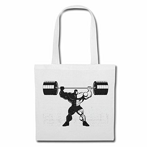 Tasche Umhängetasche Bodybuilder MIT LANGHANTEL Bodybuilding Gym KRAFTTRAINING FITNESSSTUDIO Muskelaufbau NAHRUNGSERGÄNZUNG Gewichtheben Bodybuilder Einkaufstasche Schulbeutel Turnbeutel in Weiß