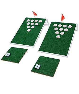 SPRAWL Beer Pong Cornhole Golf Chipping - 2 Tragets 2 Chipping Mats 8 Golf Balls - Beach Golf Backyard Practice Games Golf Hole