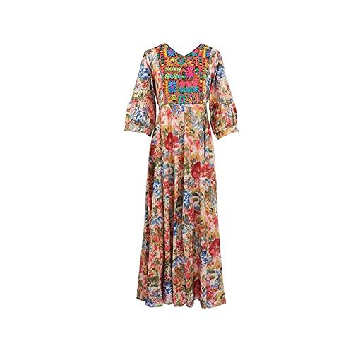 XJTJSM Sommer Herbst Vintage Print Frauen Maxi Kleid, Boho Stickerei V-Ausschnitt Fit und Flare Bohemia Lange Kleider,...