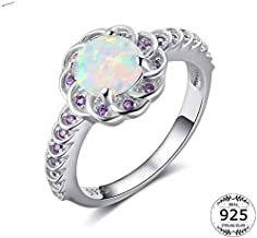 Jewelry مجوهرات Rings 925 Sterling Silver Flower Ring Lady White Ring Purple Cz Wedding Party Ring,Size:7 جواهر سازی (Size : 6)