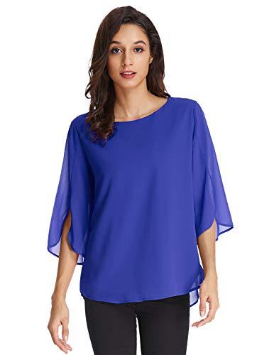 GRACE KARIN Camicie da Donna Top Manica a Corta Camicia di Chiffon Maniche 3/4 Larghe Camicetta Donna Chiffon Elegante Blu 2XL CLAF15-1