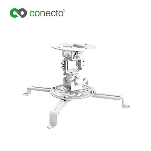 conecto CC50280 Deckenhalterung für Beamer, neigbar -15° bis +15°, schwenkbar 360°, drehbar 360°, Deckenabstand 150mm, Traglast max. 13,5kg, universeller Montagebereich 54-320 mm, weiß