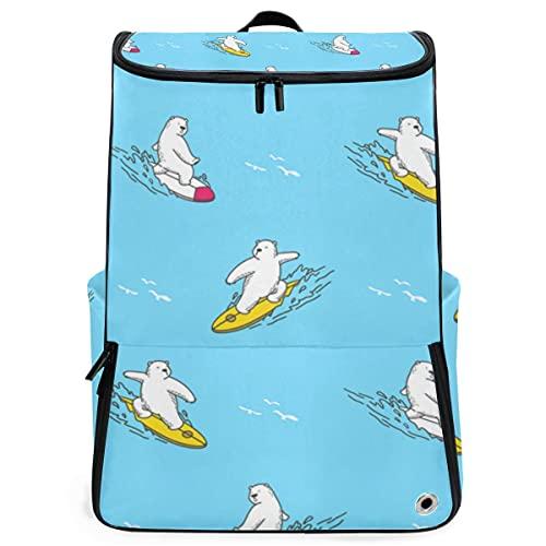 YUDILINSA Viaje Mochila,Bear Polar Surf Ocean Vector transparente,Universitaria Mochila,Laptop Backpack con Compartimento para zapatos