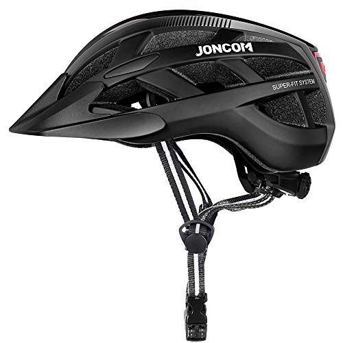 Joncom Adult Bike Helmet with Light, CPSC Certified for Mountain Road Bicycle Helmet for Men Women with Detachable Visor, Adjustable Lightweight Road Cycling Helmet