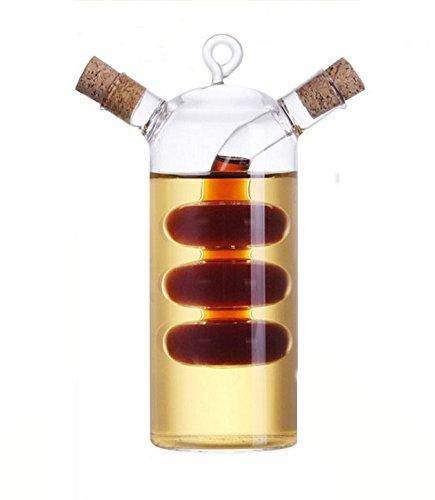 Kitchen Supplies Glass Olive Oil Bottle Cruet,2 in 1 Oil and Vinegar Holder,Gourd