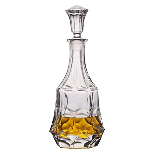 JNMDLAKO Elegante Jarra de Whisky de Cristal Italiano sin Plomo, con tapón de Vidrio, Licor de Brandy, Bourbon, Agua, Jugo y Whisky, M