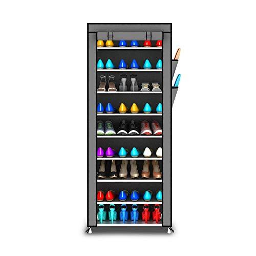 ZAIHW Zapatero Gabinete de Zapatos de múltiples Capas Almacenamiento de Hierro Forjado Ensamblaje a Prueba de Polvo 10 Capas 9 Rejilla (Color: Plata)