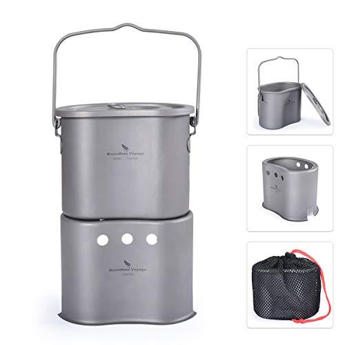 Boundless Voyage al aire libre titanio plegable mini tamaño estufa de leña con olla de camping 2 en 1 cantina taza horno ultraligero cocina quemador Ti1513B