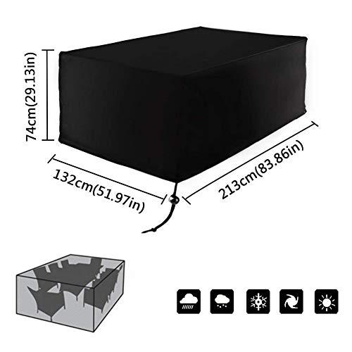Fablcrew Housse Mobilier de Jardin Extérieur Grande étanche Cube Set de Table Housse de Protection pour Rotin Terrasse des Ensembles Noir (213 x 132 x 74 cm)