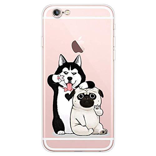 Herbests Kompatibel mit iPhone 6S 4.7 Handyhülle Transparent Silikon TPU Schutzhülle Tier Muster Klar Durchsichtig Crystal Clear Dünn Kratzfest Stoßfest Case,Haustier Hund