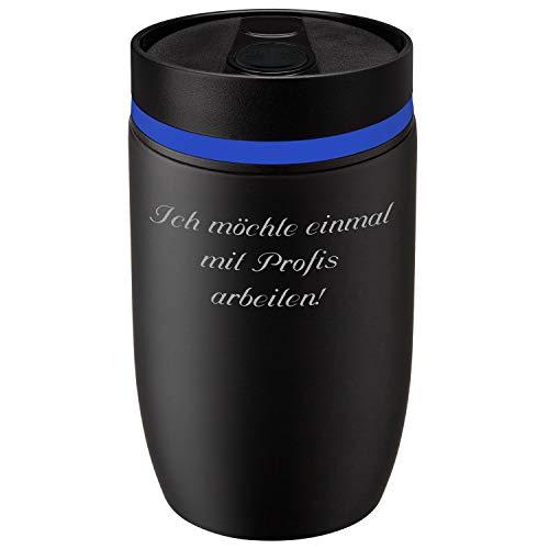 Metmaxx® Thermobecher Crema Officina Nero 380 ml mit persönlicher Rund-Gravur Edelstahl Schwarz/Blau