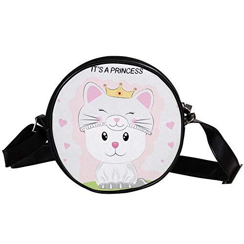 Yoliveya Zubehör-Umhängetasche, Unisex, Erwachsene, modisch, leicht, Messenger-Tasche, Leinen, Hüfttasche, Kätzchen, Prinzessinnen-Hut