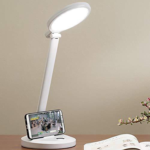 Lámpara de escritorio LED 9W Recargable Ahorro de energía Libro de lectura Luz Cuidado de los ojos 3 modos de color Regulable 180 ° Ajuste de cabeza Luz de mesita de noche para dormitorio,2000 mAh