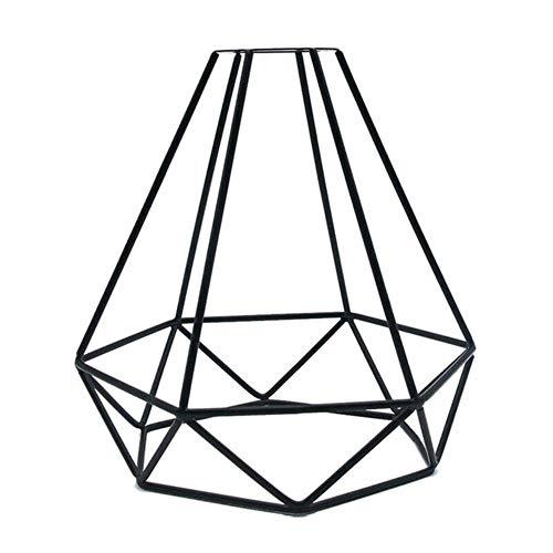 Coner lampenkap alleen retro metalen draadkooi-vormige hangende hanglamp schaduw Kroonluchter Lampafdekking zonder lamp, zwart