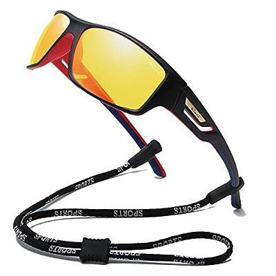 Bevi Polarized Sports Sunglasses TR90 Unbreakable Frame for Men Women Running Cycling Baseball (Yellow)
