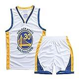 Angel ZYJ Maillots de Baloncesto para Niños- Conjunto Curry#30 Camiseta de Baloncesto Chaleco & Pantalones Cortos de Verano para Chicos y Chicas (Blanco #30, l)