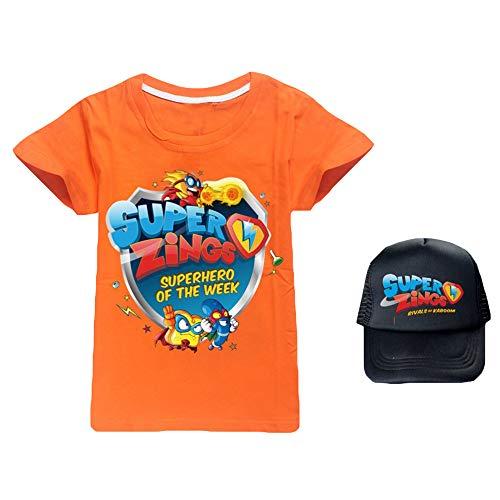 Gjhjhgeow Superzings Maglietta Cartoon Stampa Girocollo Manica Corta T-Shirt + di Modo Comodo Sunhat Ragazzi e Ragazze (Color : A14, Size : Height-90cm(Tag 90))