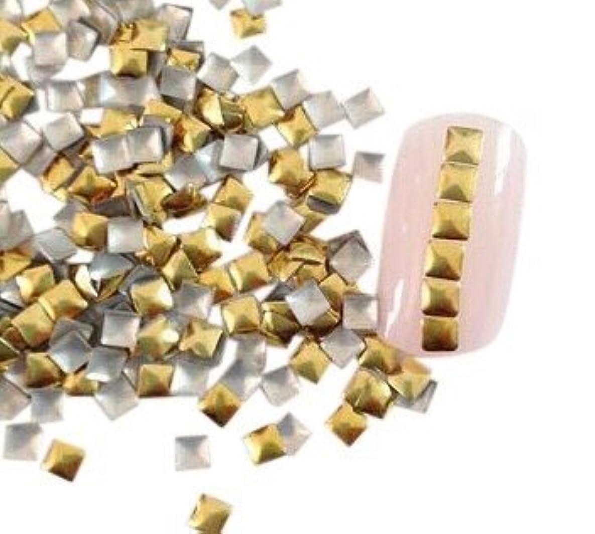 植物学者アニメーション規制【ネイルウーマン】メタルパーツ スタッズ ゴールド 金 スクエア 四角形 (3mm) 約50粒入り